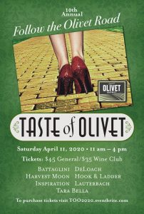 Taste of Olivet wine tasting April 11 2020, 11AM to 4PM